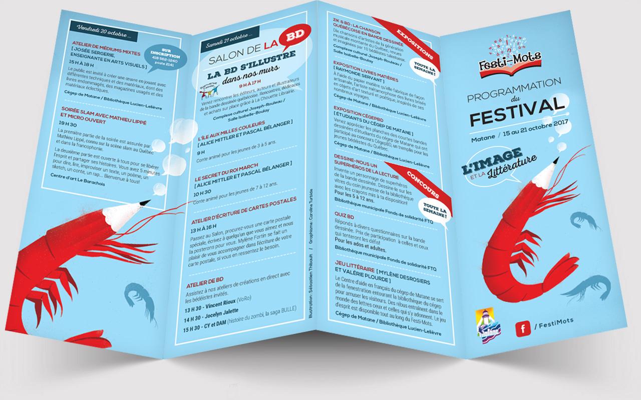 Conception d'un dépliant pour le Festi-Mots, festival littéraire à Matane