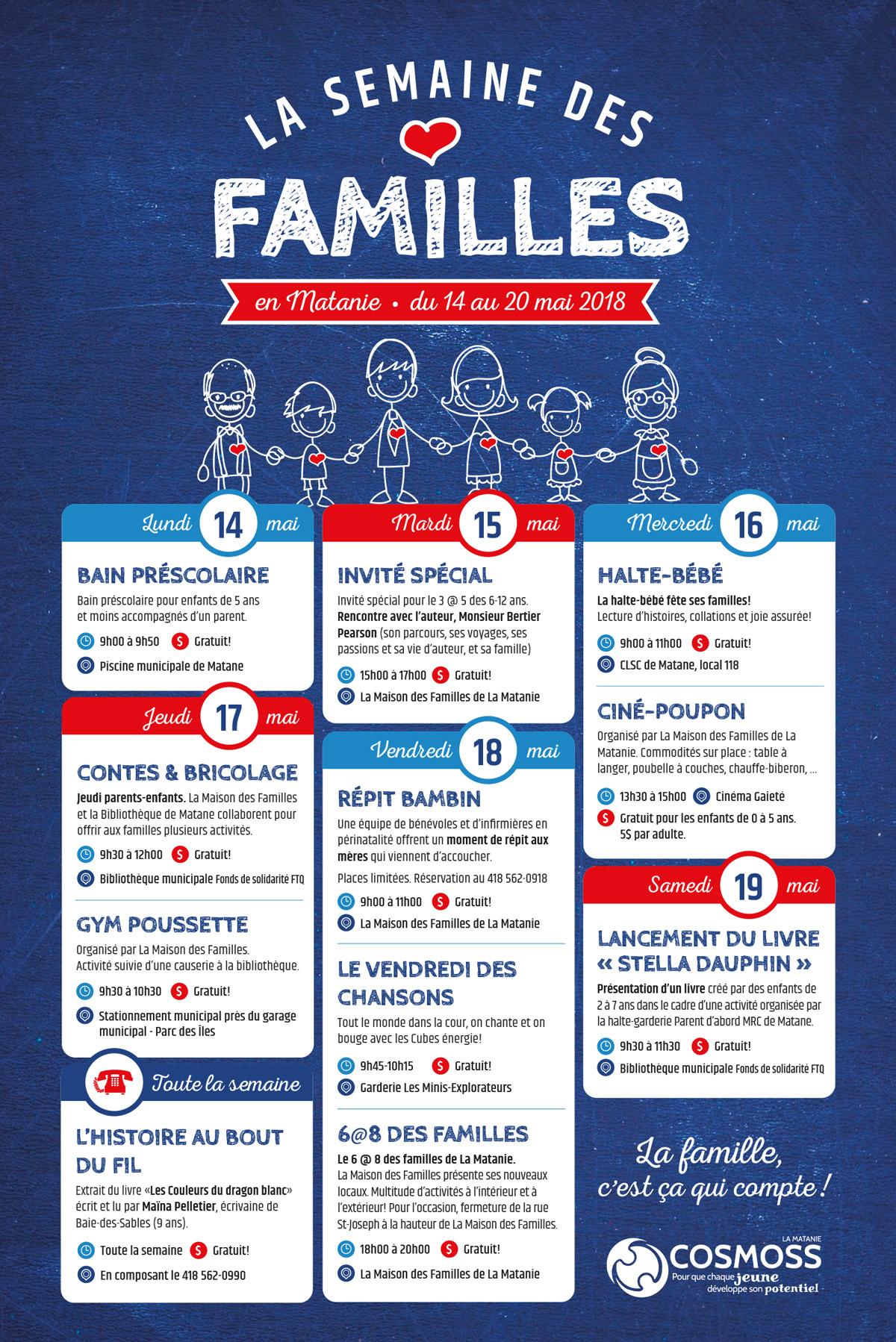 Affiche pour la semaine des familles en Matanie