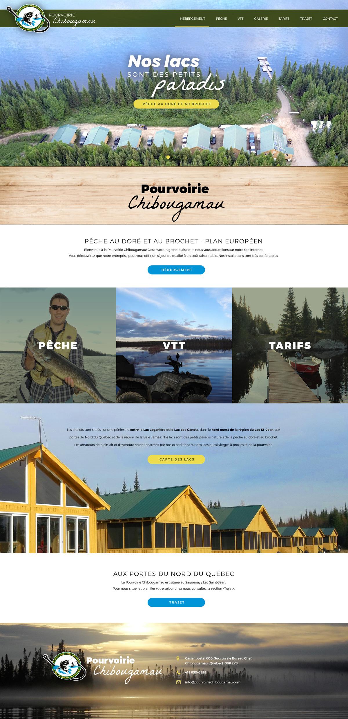 Design et intégration du site web de la Pourvoirie Chibougamau