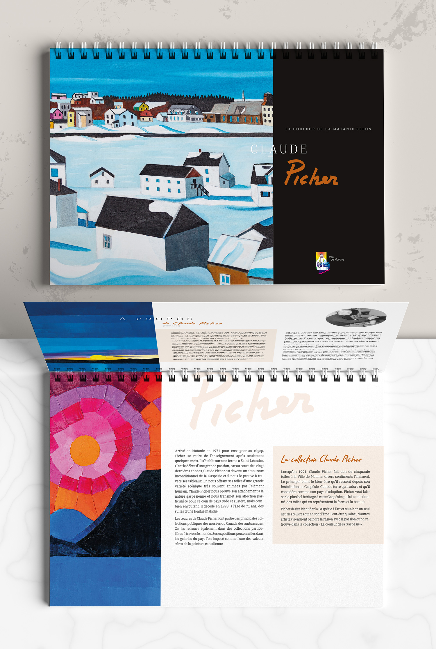 Conception et illustrations d'un cahier de coloriage sur les œuvres de Claude Picher